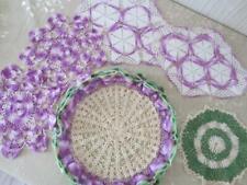 Lot of 6 Vintage Hand Crocheted Purple & Green Handmade Doilies