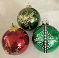 3 Vintage West German Large Mercury Glass Ornaments, 2 Green,1 Red,Fabric Roses