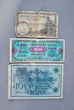Foreign Paper Money lot 3 Germany 100 Reichsbanknote France 50 Francs Belgium 5