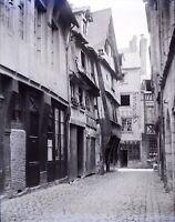 FRANCE Vieille Ville Ancienne Maisons c1900, NEGATIF Photo Plaque Verre Stereo