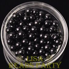 144pcs 8mm Round Czech Glass Pearl Loose Spacer Beads Pure Black