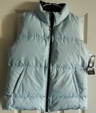 J. Percy Sport Reversible Baby Blue/Black Down Filled Puffer Vest- Size Med NWT