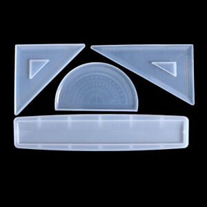 4 Shapes Silicone Resin Ruler Molds Straignt Square Triangular Protractor Rulers