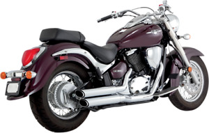 Vance & Hines Chrome 2-2 Twin Slash Exhaust for 05-09 Suzuki Boulevard 800