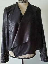 I.N.C. Women's Drape Front Black Lined Jacket with metallic decor, Size L, new