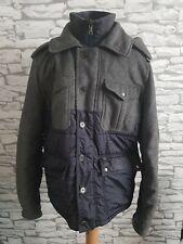 Men Tommy Hilfiger Coat Wool Cashmere blend blue grey hooded Casual medium male