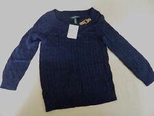 New Womens Medium Petite Lauren RALPH LAUREN Sweater Cableknit Buckle - $114.50