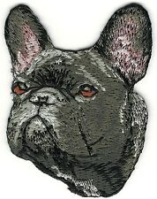 "1 3/4"" x 2 1/2"" French Bulldog Dog Breed Face Portrait Embroidered Patch"
