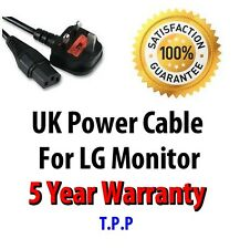 NEW UK Mains Power Lead Cable Cord For LG Monitor LCD Screen Computer Display