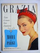 GRAZIA // rivista settimanale // 1 settembre 1957  N. 863 // LA MODA DI PARIGI