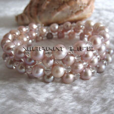 "8"" 6-8mm Lavender Freshwater Pearl Bracelet UK"