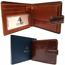Mens Leather Wallet 2-Tone Brown New in Gift Box Visconti Luxury Quality TR35