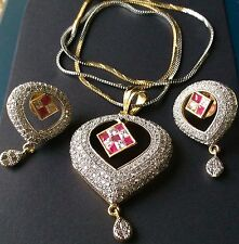 Golden Heart With White Stones Red Stone Pendant With Chain Earrings Fashion Set