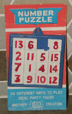 Vintage IDEAL Plastic Sliding Number Puzzle Party Favor on Card Hong Kong NEW