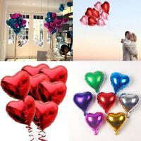 "10pcs 10"" Heart Shape Foil Helium Balloons Wedding Birthday Party Decor Supplies"