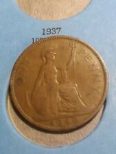 1940 Uk Great Britain British One 1 Penny Edward Vii Coin Free Shipping