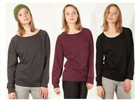 Womens Sweats Jumper Ladies Plain Cosy Sweatshirt Crew Neck Casual Long Sleeve