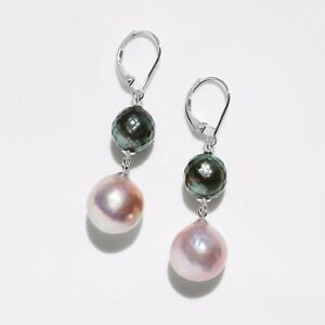 Faceted Tahitian Pearl&Kasumi Pearl Dangle Earrings 14k White Gold Leverback