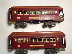 lionel prewar standard gauge passenger cars 309/312.  Maroon/Terra Cotta