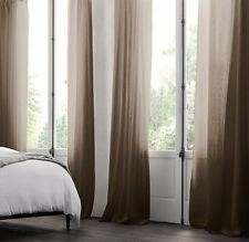 New Restoration Hardware Linen Rod Pocket Sheer Curtain Mocha 100x84 Double Wide
