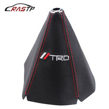 For MT/AT Shift Knob TRD PVC Racing Car Shifter Boot Cover Leather Red Stitch