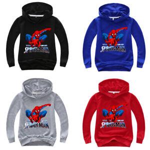 Spider man Boys Hooded Tops T-shirt Kids Hoodie Cartoon Costume Jumper Age 2-10Y
