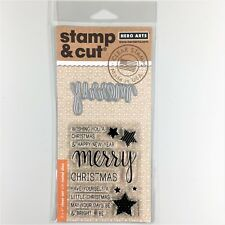 Hero Arts Stamp & Cut Merry Clear Stamp Die Set Christmas Greetings Phrases