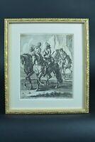 Belle Gravure Ancienne 17e Chevaux cavalier Rugendas Riginder Augsburg engraving