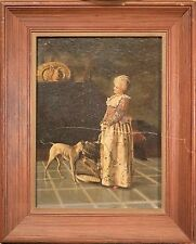 Antique Victorian Oil Painting, Woman with Parrot in Birdcage & Russell Terrier!