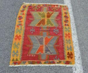 Hand Knotted Anatolian Traditional Kilim Rug Turkish Vintage Wool Carpet 3x3 ft