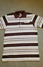 VINTAGE GETTY OIL COMPANY Polo Shirt Brown Stripe with Patch - Size L