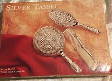 Silver Tassel Silver Plated Three Piece Vanity Set