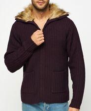 Men Mono Fur Collar Knit Jacket Zipped Patch Pocket Jumper Thick Cardigan M L XL
