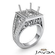 Princess Semi Mount 1Ct Split Shank Diamond Engagement Halo Set Platinum Ring