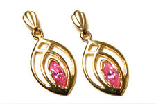 9ct Gold Pink CZ Celtic Drop dangly earrings Made in UK Gift Boxed