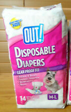 "OUT! 14 DISPOSABLE DOG DIAPERS M-L Medium / Large 18-25"" WAIST 100% Leak-Proof"