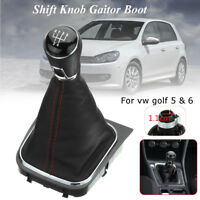 Speed Gear Shift Knob Lever Leather Gaitor Gaiter Boot Cover For VW Golf   .-