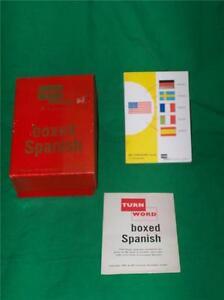 1957 TURN WORD BOX SET SPANISH FOREIGN LANGUAGE ESPANOL ENGLISH FLASH CARD BOOK