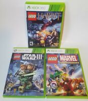 XBox 360 LEGO 3 Game Lot Star Wars III The Hobbit Marvel Super Heroes  *Tested*
