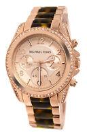 New Michael Kors Blair Chrono  Rose Gold Crystals Date Watch 40mm MK5859 $295