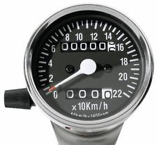 Mini VELOCÍMETRO Contador de días Tacómetro 60mm Negro Cromo 2:1 para KAWASAKI