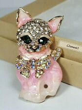 Enamel Ab Crystals, New Kitten Pink Cat Brooch Pin Rhinestone