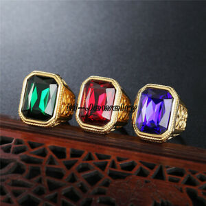 Vintage Lab Emerald Ruby Sapphire Stainless Steel Yellow Gold Filled Mens Ring