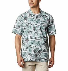 Columbia Men's Trollers Best Short Sleeve Shirt, Pond Polynesian Print, X-Small