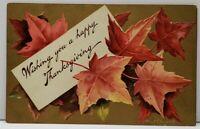 Ellen Clapsaddle Thanksgiving Fall Foilage Golden Embossed 1909 Postcard C8