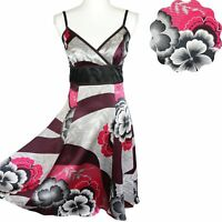 TED BAKER 100% Silk Dress Floral Summer Wedding Party Strap Dress size 2/ 10-12