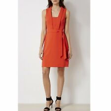 Karen Millen Tie Belt Orange Office Work Evening Cocktail Shift Dress 16 UK 44
