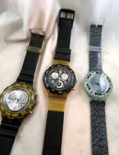 SWATCH Lot of 3 Watches 2 Chrono and 1 Scuba Used