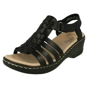 BNIB Clarks Ladies Lexi Bridge Black Leather Wedged Sandals