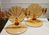 Pair Of Amber Glass Double Candlestick Holders